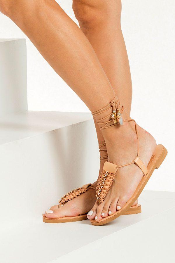 Tan Leather Flat Sandals