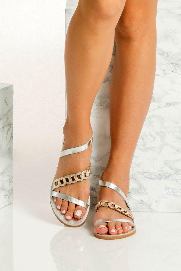 Silver Greek sandals