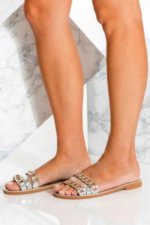 Open Toe Sandals Metallic