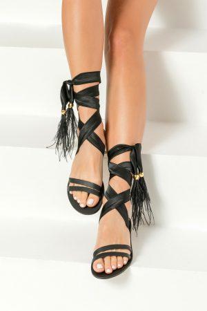 Black boho sandals