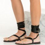 Greek Black Flat Sandals