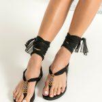 Lace up Black Sandals