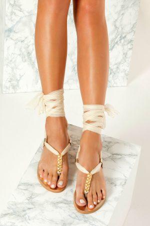 Ivory Flat Wedding Sandals