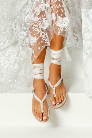 Silver Flat Wedding Sandals