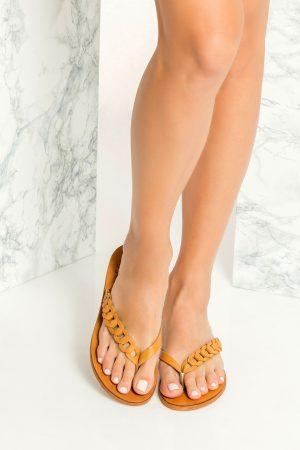 Brown Leather Flip Flops