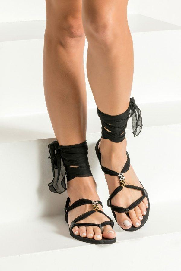 Black Boho Flat Sandals