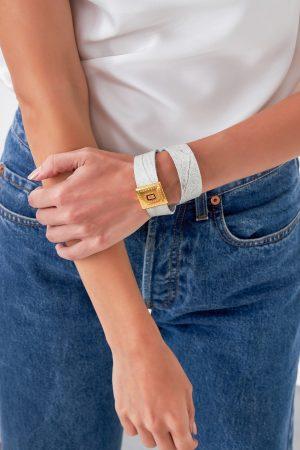 White Leather Bracelet for Women.