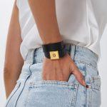 Black Leather Bracelet for Women