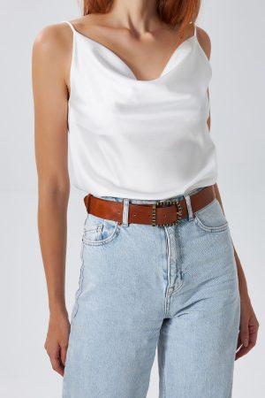 Women's Brown Leather Belt