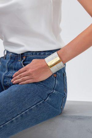 Leather Cuff Bracelet for Women fastens