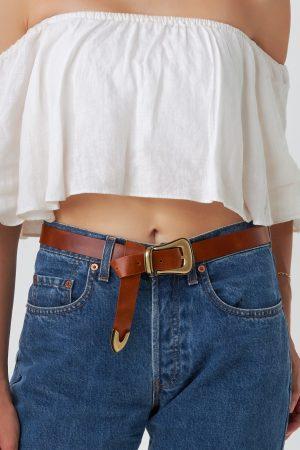 Women Leather Belt Brown