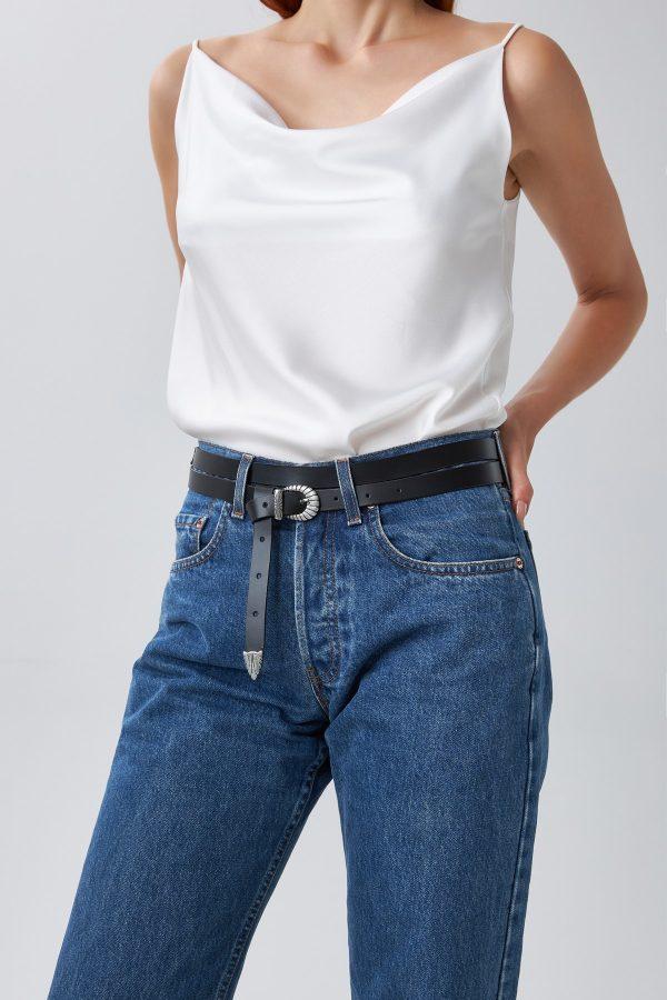 Double Wrap Black Leather Belt