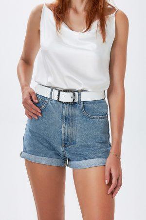 White Leather Women's Belt