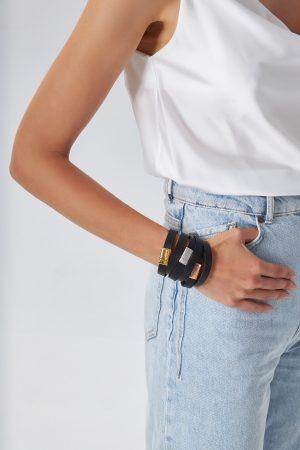 Black Leather Bracelets Women
