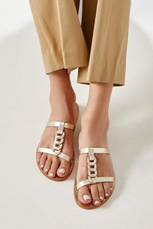 Gold Slide Sandals