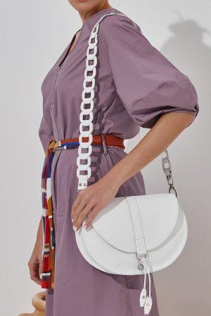 White Saddle Bag Women