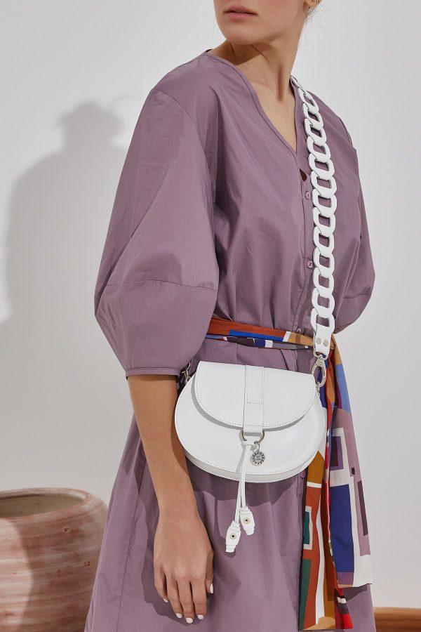 Λευκή δερμάτινη τσάντα