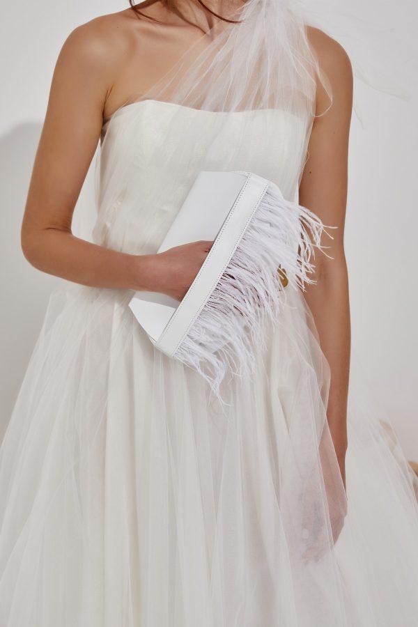 white clutch for bride