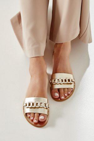 Gold Leather Slides