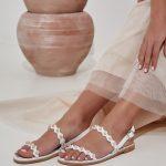 Wedding Flat Sandals White