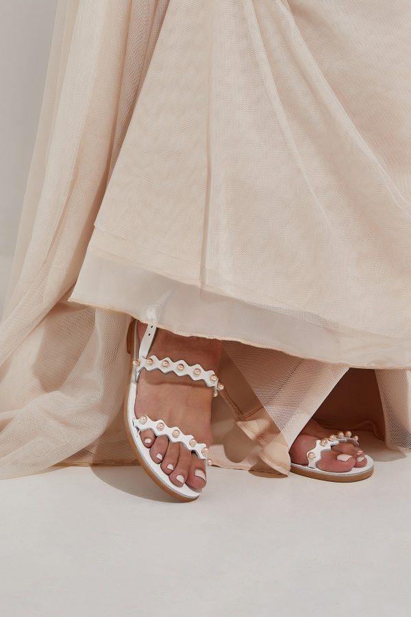 White and Blush Wedding Shoes