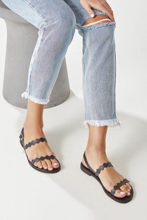 Leather Sandals Women Black