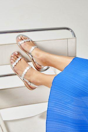 Women's Silver Flat Sandals