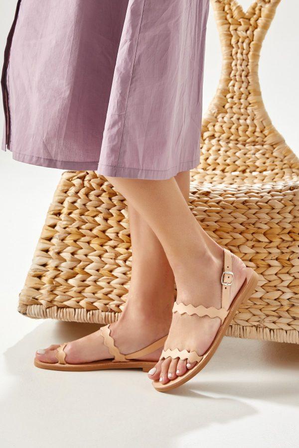 Flat Sandals Tan Leather