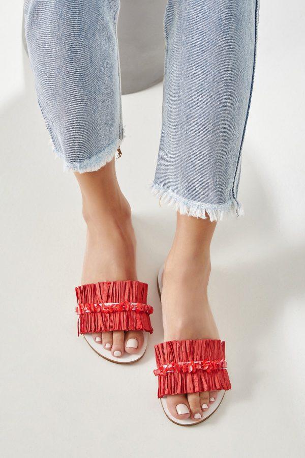 Red Sandals Women Flat