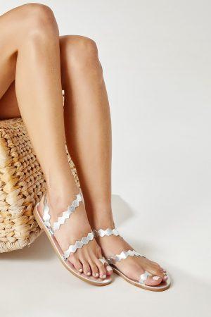 Flat Sandals Silver Woman