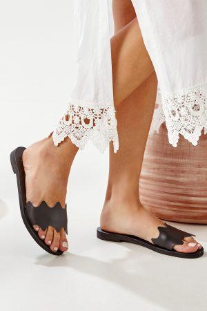 black slide sandals