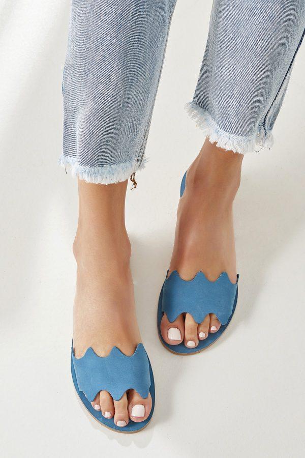 Blue Flat Leather Sandals