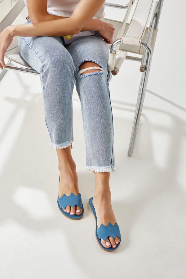 Flat Sandals Women Blue