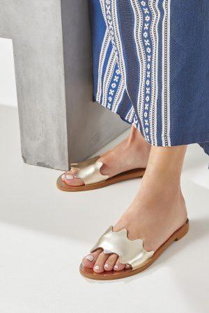 Women's Gold Flat Sandals