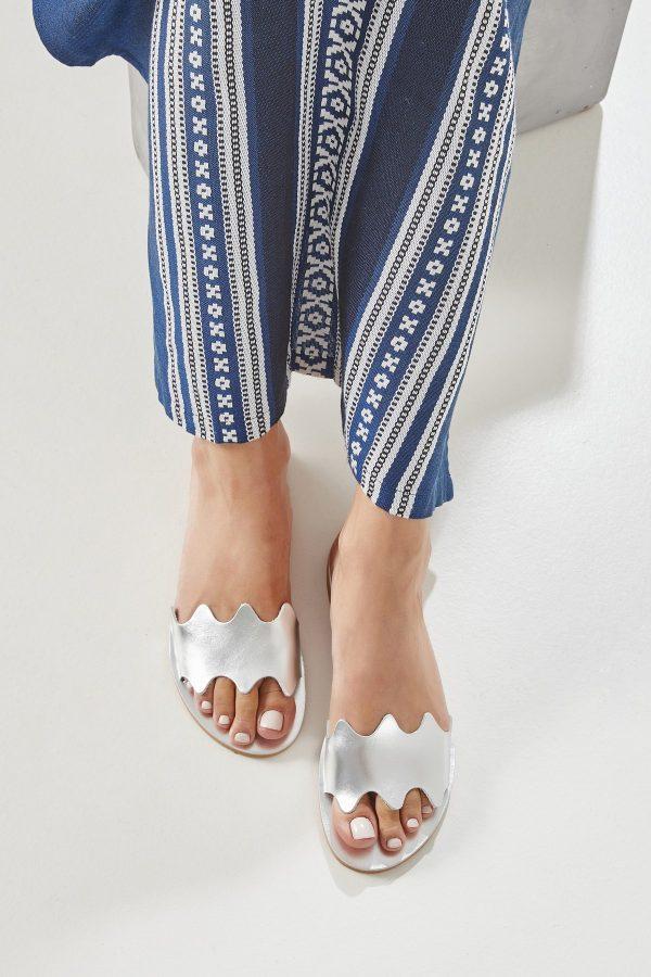 silver slip on sandals