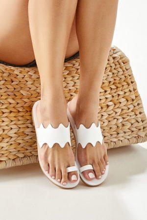 White Toe Ring Sandals